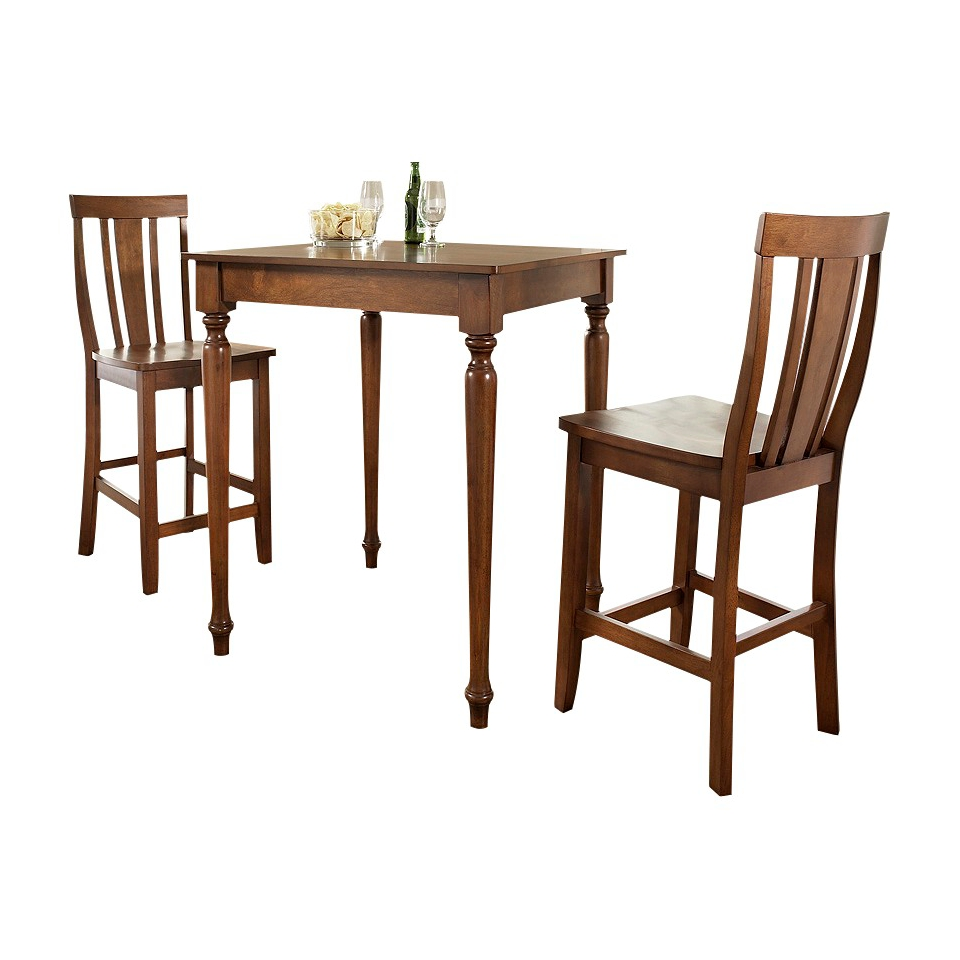 Dining Table Set Crosley Turned Leg Pub Table Set   Red Brown (Cherry) (Set of