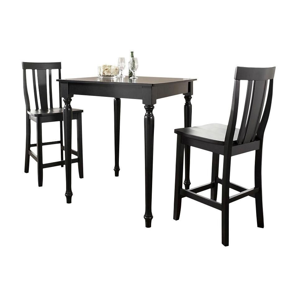 Dining Table Set Crosley Turned Leg Pub Table Set   Black (Set of 3)
