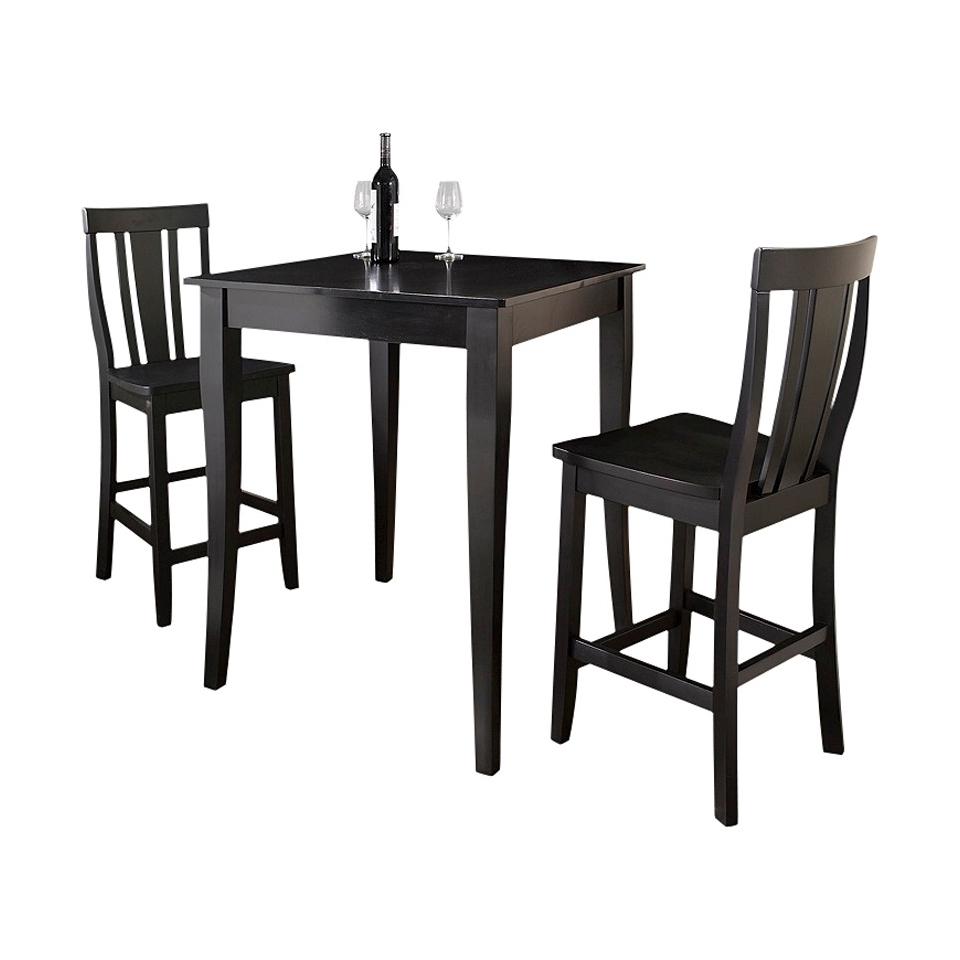 Dining Table Set Crosley Cabriole Leg Pub Table Set   Black (Set of 3)