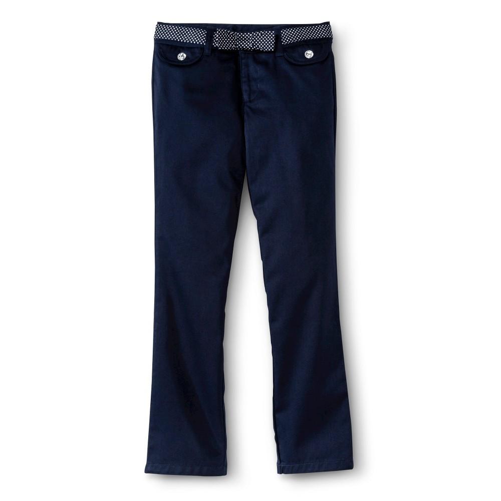 French Toast Girls Polka Dot Belt Pants - Navy (Blue) 10