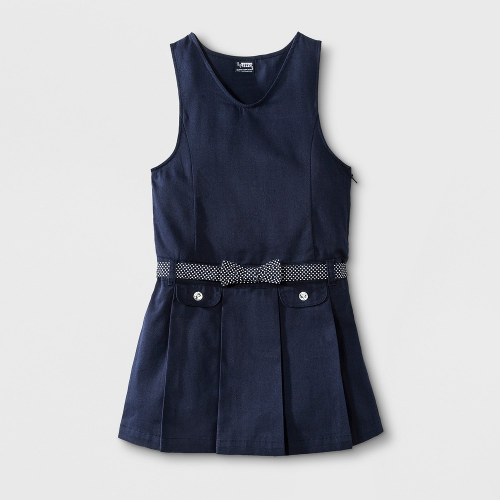 French Toast Girls Polka Dot Bow Belted Jumper - Navy (Blue) 8