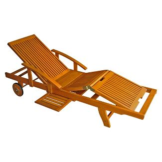 International caravan royal tahiti acacia wood patio for Acacia wood chaise lounge