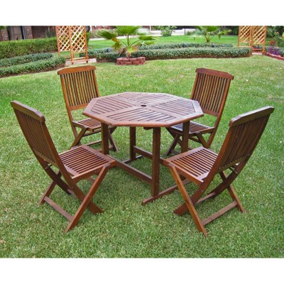Highland 5 Piece Wood Patio Dining Furniture Set
