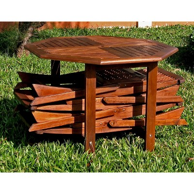 Highland 5 Piece Wood Patio Dining Furniture Set