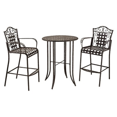 Mandalay 3 Piece Iron Bar Height Patio Bistro Furniture Set ...