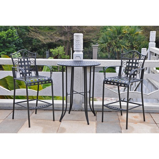 Mandalay 3 Piece Iron Bar Height Patio Bistro Furniture Set