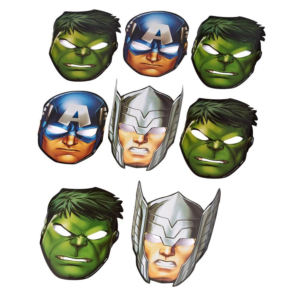 8 ct Avengers Paper Mask, Kids Unisex