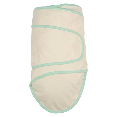 Miracle Blanket Solid Print with Trim Baby Swaddle - Beige/Mint Green