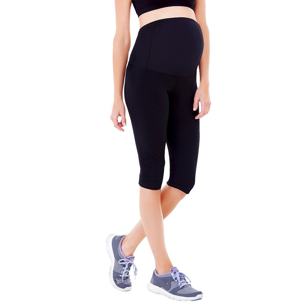 BeMaternity by Ingrid & Isabel Active Black XL Knee Pant with Crossover Panel, Women's