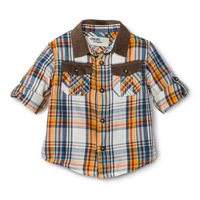 Infant Toddler Boys' Long Sleeve Plaid Buttondown - Goldenrod 18 M