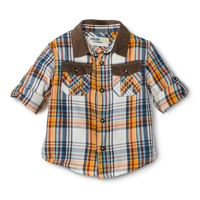 Infant Toddler Boys' Long Sleeve Plaid Buttondown - Goldenrod 12 M