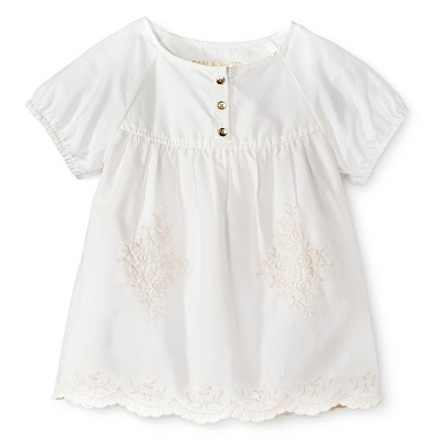 Infant Toddler Girls' Short Sleeve Embroidered Blouse - Almond Cream 18 M