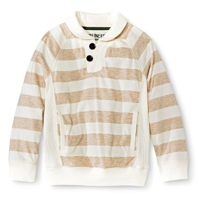 Infant Toddler Boys' Striped Long Sleeve Collared Henley Tee - Khaki/White 2T
