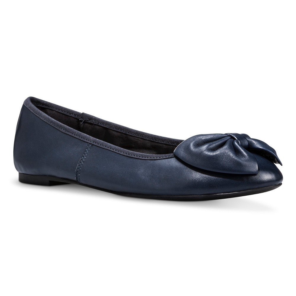 Womens Sam & Libby Chelsea Genuine Leather Bow Flats - Navy (Blue) 8
