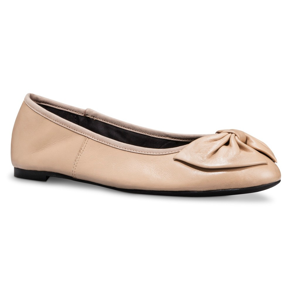 Womens Sam & Libby Chelsea Genuine Leather Bow Flats - Fawn 9.5