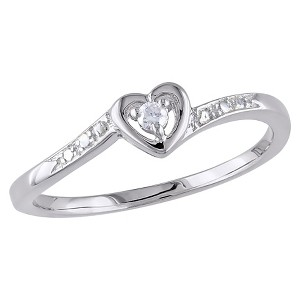 Allura 0.03 CT. T.W. Round Diamond 3 Prong Set Cocktail Ring in White Sterling Silver (I2:I3/Ghi) (7), Women