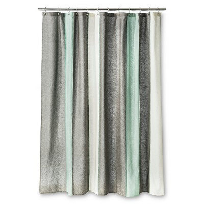Blanket Stripe Shower Curtain Gray/White - Threshold™