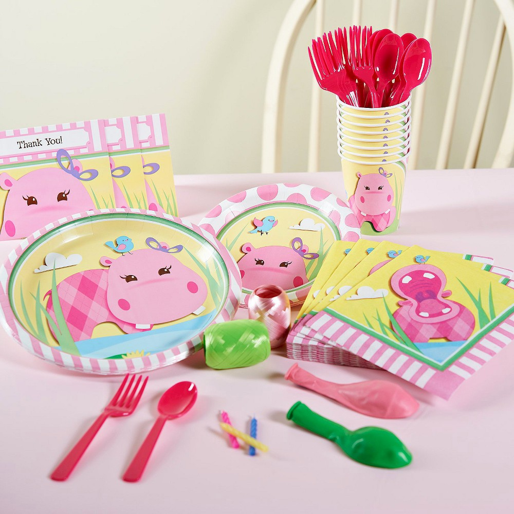 Hippo Pink Birthday Party Pack for 16, Variation Parent