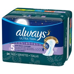 Always Ultra Thin Size 5 Extra Heavy Overnight Pads With Wings - Unscented