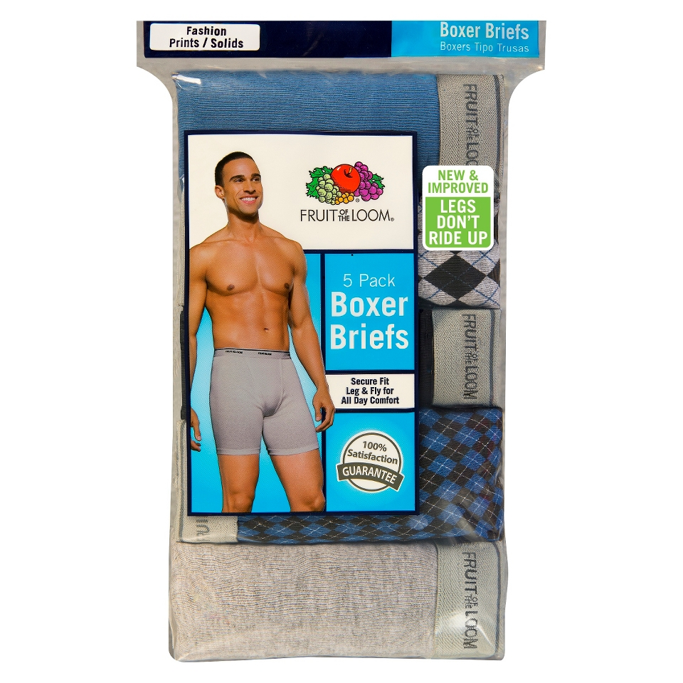 Fruit of the Loom Mens 5 Pack Argyle and Solid Boxer Briefs   M