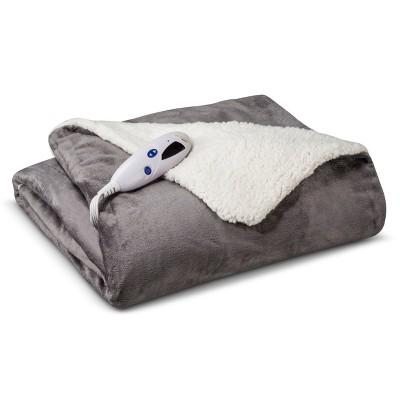 Biddeford Electric Micromink Sherpa Throw - Gray