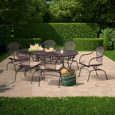 Hamlake 7 Piece Wrought Iron Motion Patio Dining Set