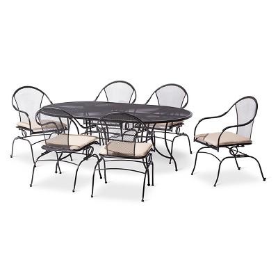 Hamlake 7Piece Wrought Iron Motion Patio Dining Set Target