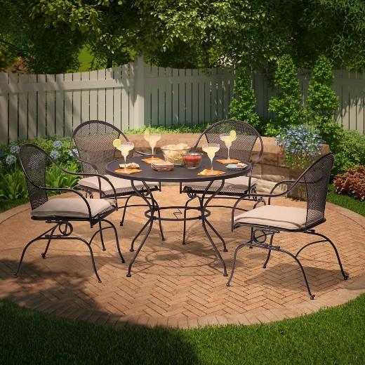hamlake 5 piece wrought iron motion patio dining set target
