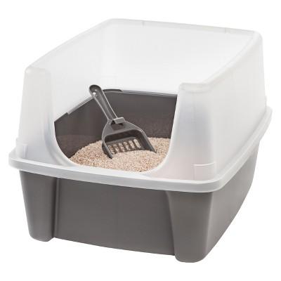 IRIS Open Top Litter Box with Scoop, Gray