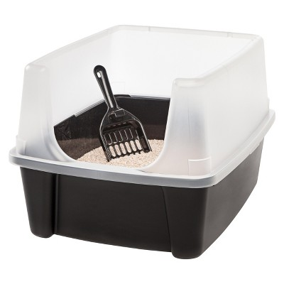 IRIS Open Top Litter Box with Scoop, Black