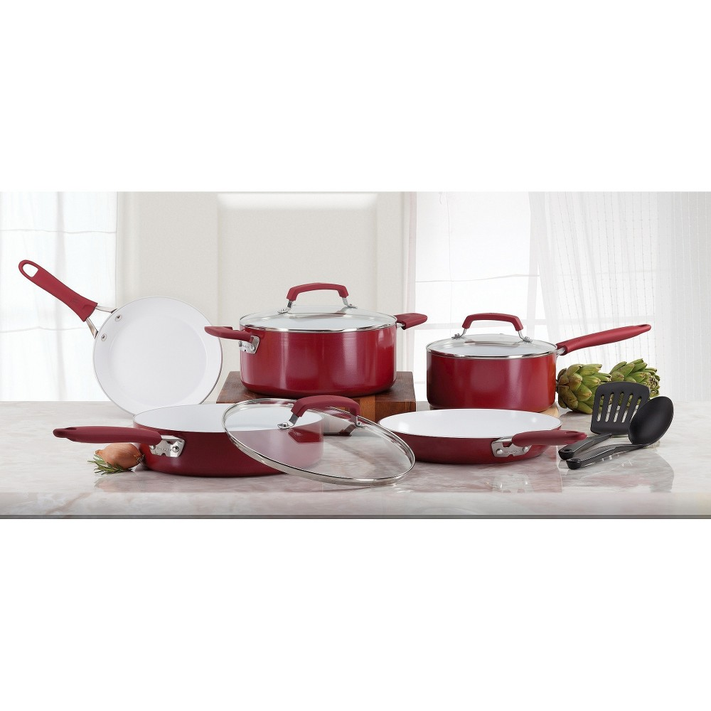 WearEver Pure Living Ceramic C943SA Dishwasher Safe Cookware 10 Piece Set Red Find Bakeware and Cookware at Target.com! Ptfe-Free The quality ceramic nonstick interior allows you to cook with less oil, for healthier meals. In addition, WearEver Pure Living is environmental friendly. Heat Resistant Up to 750 Degree F WearEver Pure Living's cooking surface withstands higher temperatures, perfect for searing. Ergonomically Designed Silicone Riveted Handle the silicone handles allow for a comfortable and secure grip. The handles can cook with high temperature up to 350 Degree F. An Absolute Joy in the Kitchen WearEver Pure Living Ceramic Non-stick Cookware is excellent for searing meats, poultry and fish. It delivers crisper, more evenly cooked food. The 10-Piece cookware set includes 5-Quart Covered Dutch Oven, 3.5-Quart Covered Skillet, 3-Quart Covered Saucepan, 10.5-Inch Saute Pan, 8-Inch Suate Pan and two Nylon Tools which provides everything you need to cook efficiently. Color: Red.