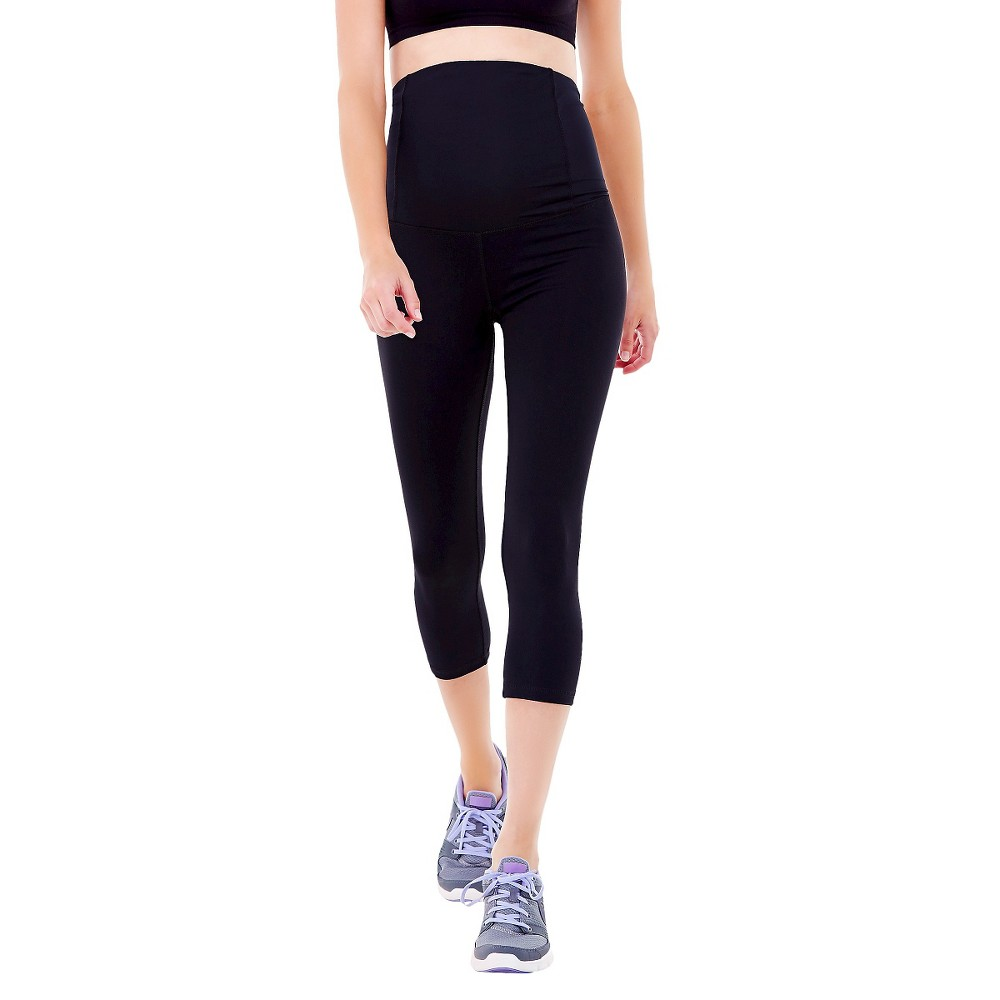 BeMaternity by Ingrid & Isabel Active Black Capri Pant with Crossover Panel XL, Women's