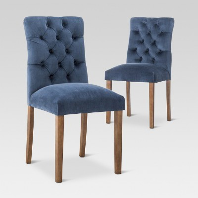 Brookline Tufted Velvet Dining Chair - Chestnut Finish -<br> Midnight Blue (2pk)- Threshold™