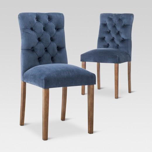 Brookline Tufted Velvet Dining Chair - Chestnut Finish - (2pk ...