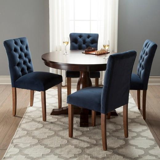 Brookline Tufted Velvet Dining Chair - Chestnut Finish - (2pk) - Threshold™ - Brookline Tufted Velvet Dining Chair - Chestnut Finish - (2pk
