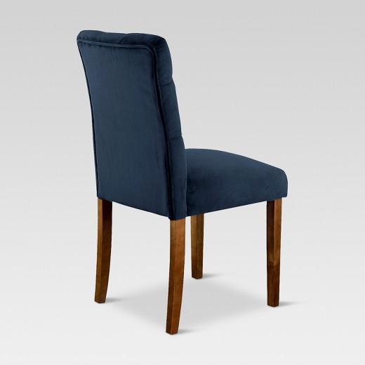 brookline tufted velvet dining chair - chestnut finish - (2pk