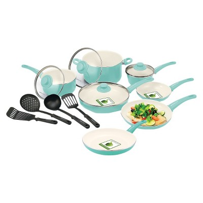GreenLife Soft Grip 15pc Ceramic Non-Stick Cookware Set, Turquoise