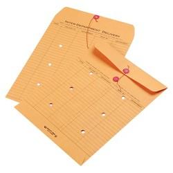 Quality Park Brown Recycled Kraft String & Button Interoffice Envelope - 100 Per Carton