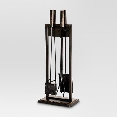 Fireplace Toolset - Black with Brushed Bronze Finish - Threshold, Black/Bronze