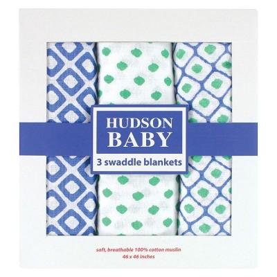 Hudson Baby 3pk Muslin Swaddle Blanket - Blue