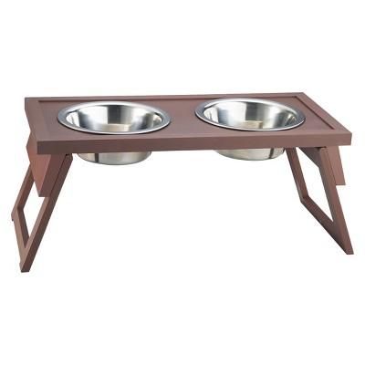New Age Pet Habitat N' Home HiLo Adjustable Double Diner Cat/Dog Bowl - Russet - Large