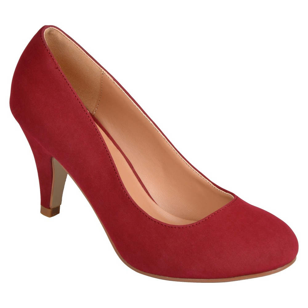 Womens Journee Collection Round Toe Solid Color Pumps - Deep Red 8
