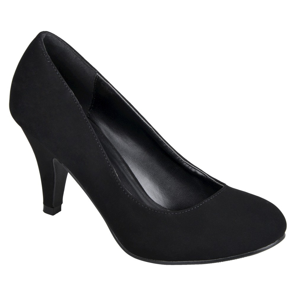 Womens Journee Collection Round Toe Solid Color Pumps - Black 7