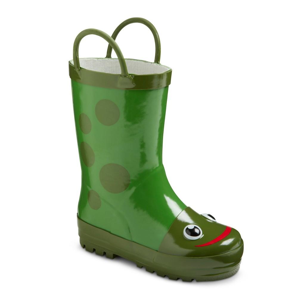 Toddler Kids Frog Rain Boots - Green 13-1, Toddler Unisex