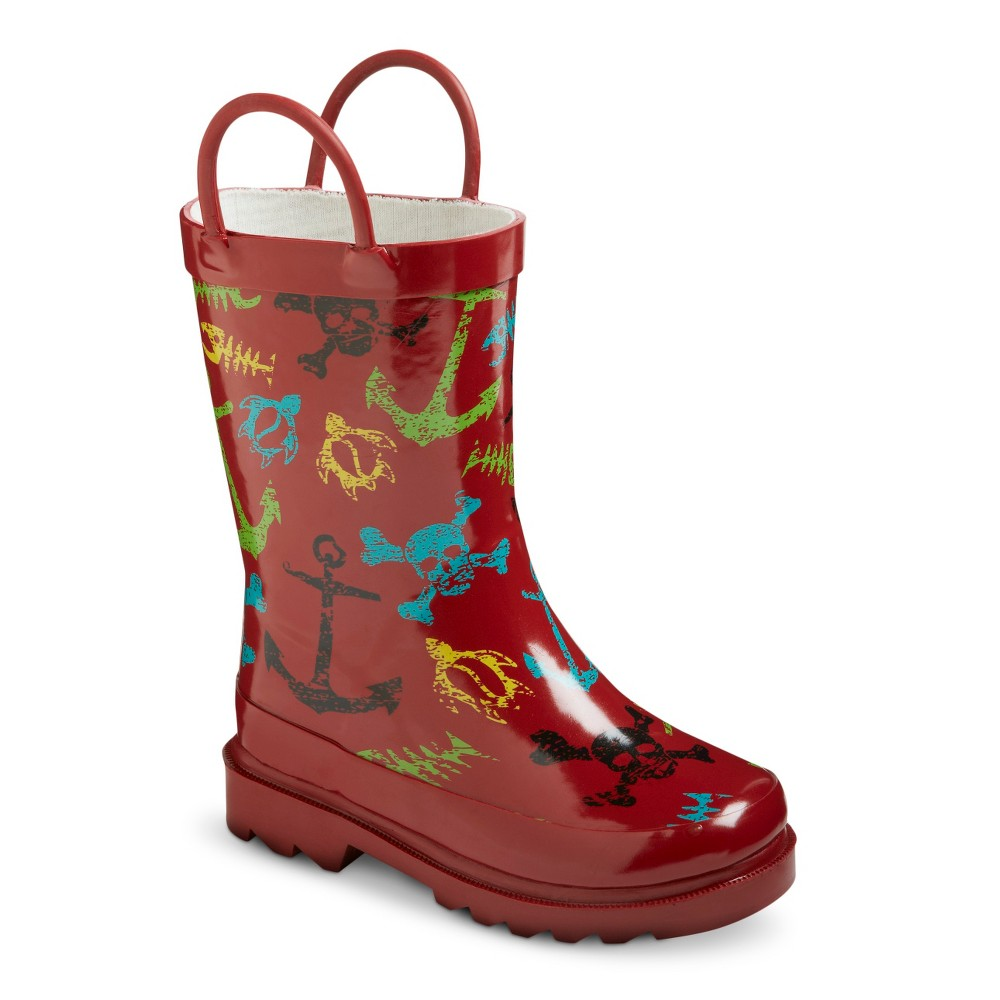 Toddler Boys Surf Tide Rain Boots - Red 5-6