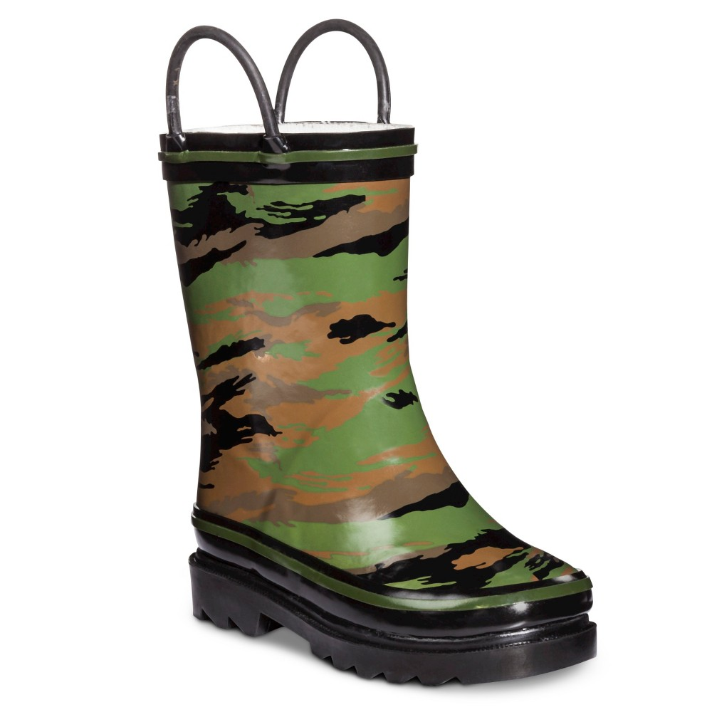 Toddler Boys Rain Boots - Camo XL (13-1), Green