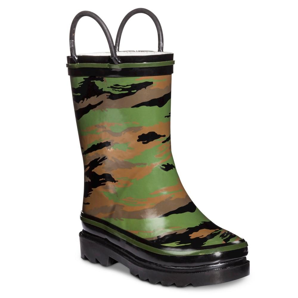Toddler Boys Rain Boots - Camo L (11-12), Green