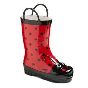 Toddler Girls' Ladybug Rain Boots - Red 5-6 : Target