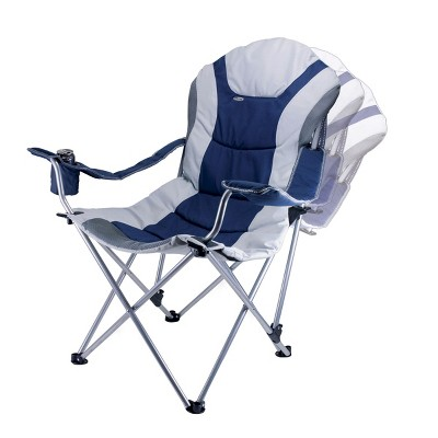 Picnic Time Reclining Camp Chair with Carrying Case - Navy/ Silver Gray (12.5 Lb)