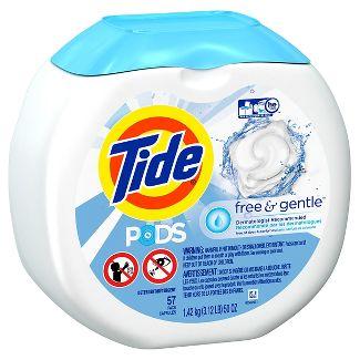 Tide PODS Liquid Laundry Detergent Pacs, Free & Gentle, 57 count